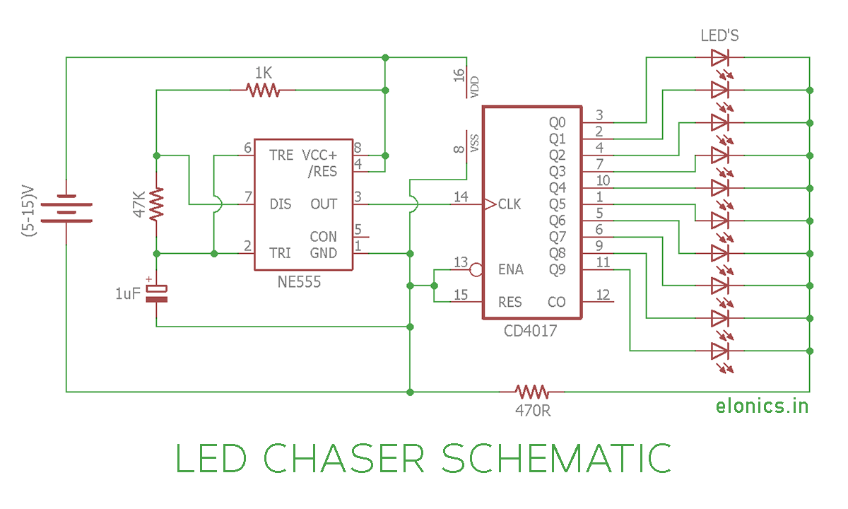 Led Chaser Circuit Sequential Flasher Using 4017 Ic And 555 With Lights Diagram