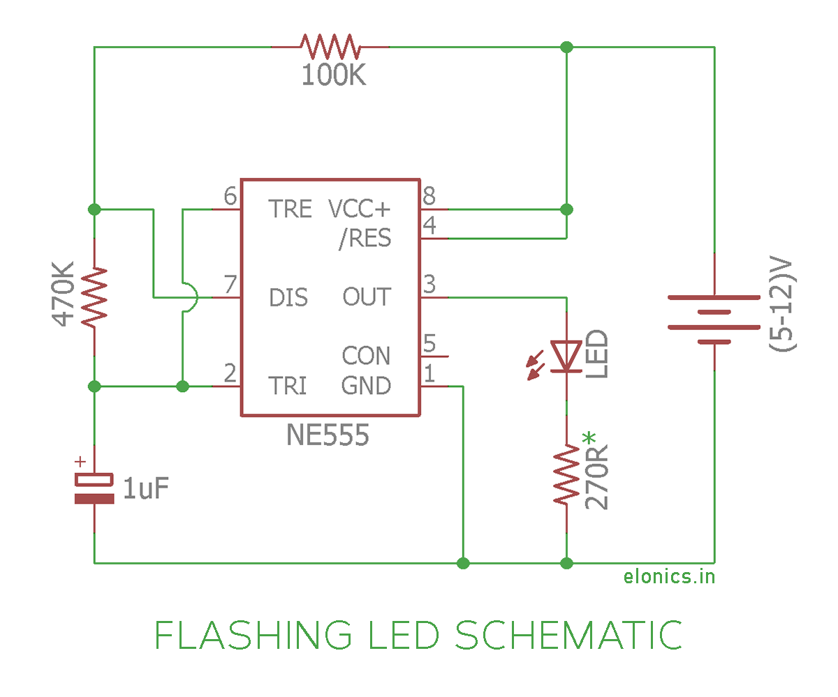 Flashing LED Circuit using 555 timer IC -Schematic