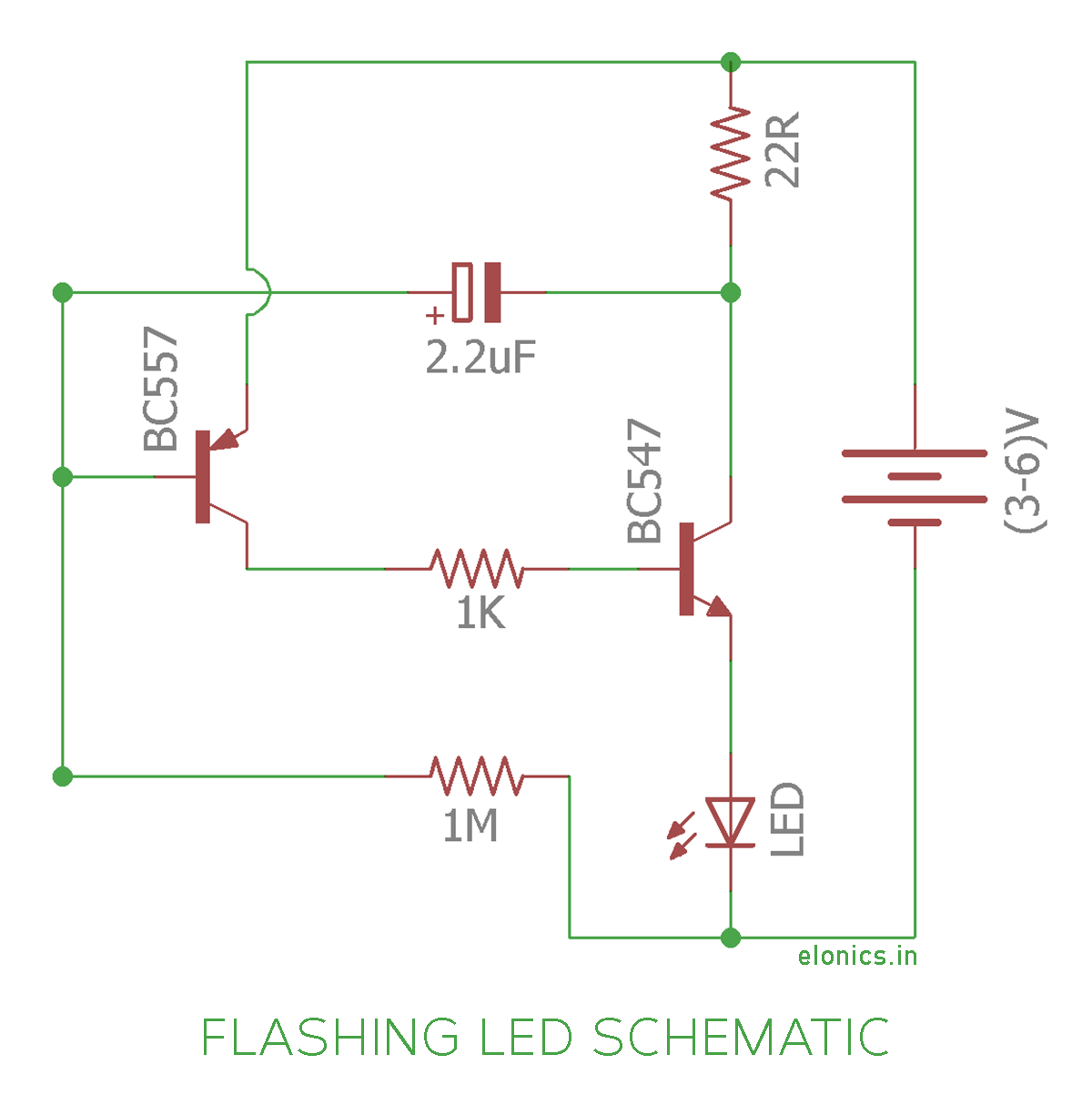 Simple Flashing LED Circuit using transistors - Elonics