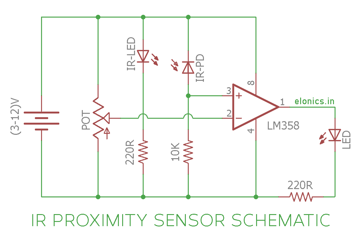 ir (infrared) proximity sensor obstacle detector circuit using pnp switch wiring ir (infrared) proximity sensor (or) obstacle detector circuit diagram