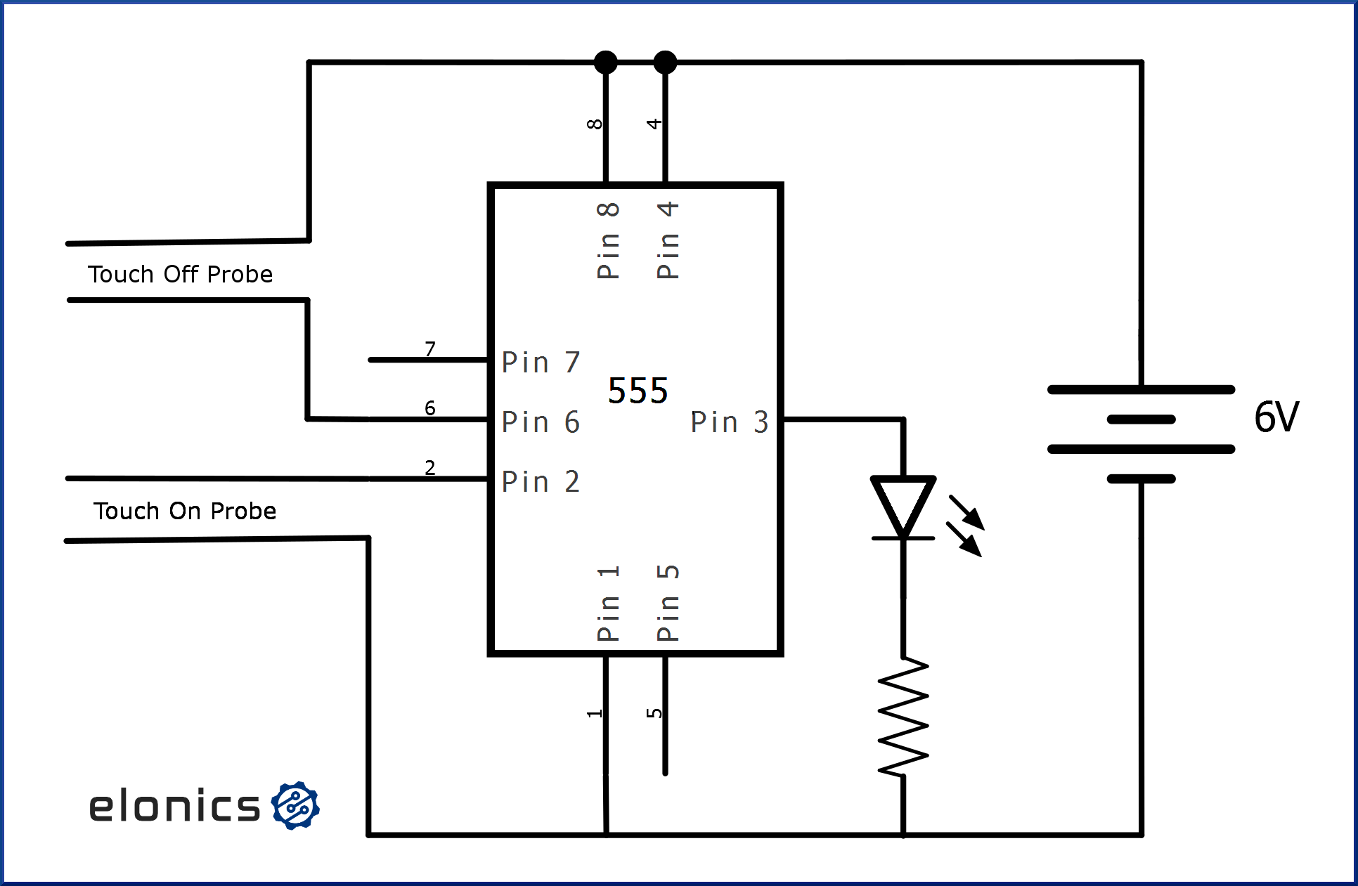Touch on Touch off switch using 555 timer IC - Elonics