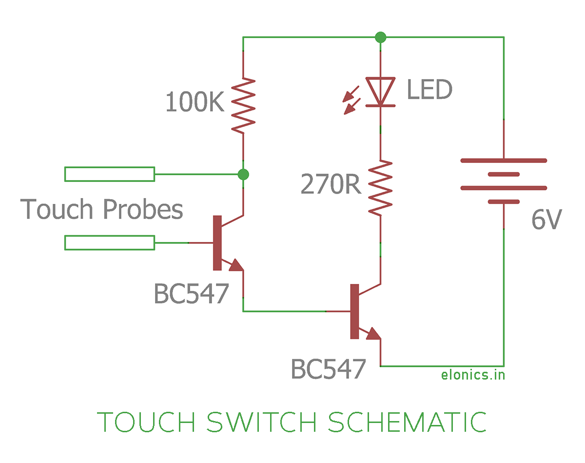 simple touch switch using transistors elonics rh elonics in touch dimmer switch circuit diagram touch dimmer switch circuit diagram